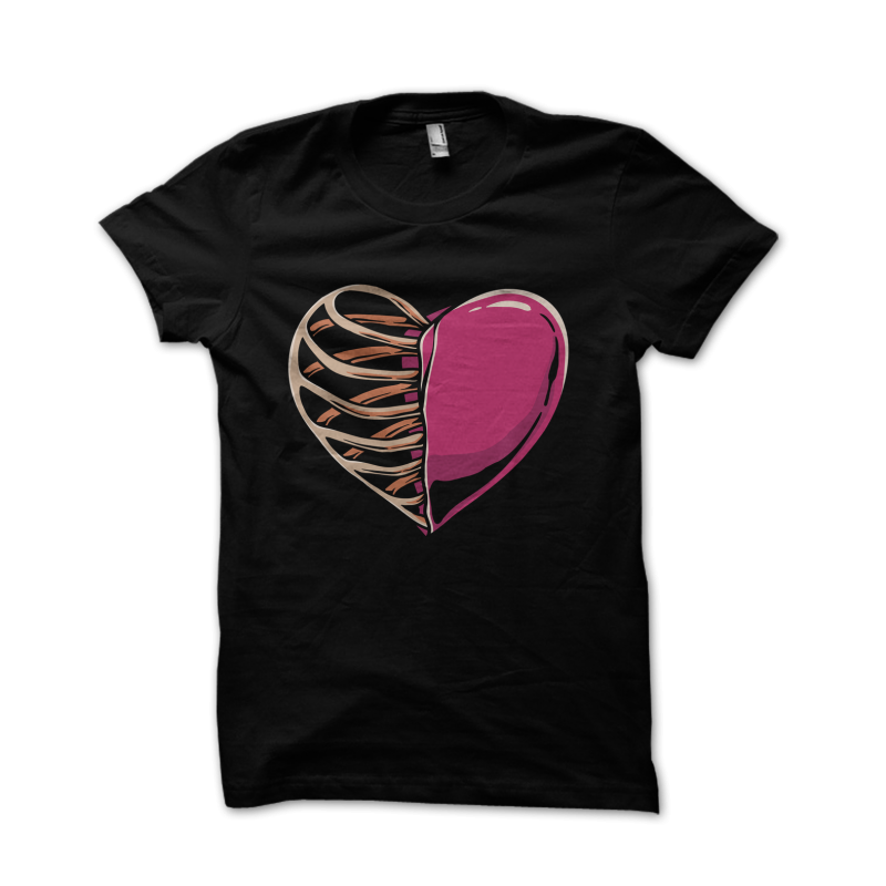 heart and skeleton t-shirt designs for merch by amazon