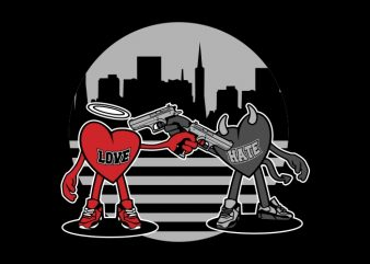 love vs hate shoot out t-shirt design for sale