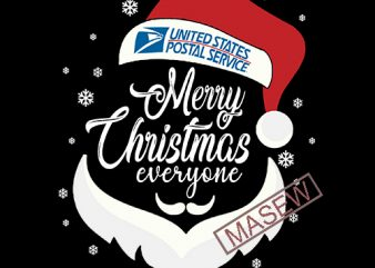 Merry Christmas Everyone SVG, United States Postal Service, Funny Christmas EPS SVG PNG DXF Digital Download graphic t-shirt design