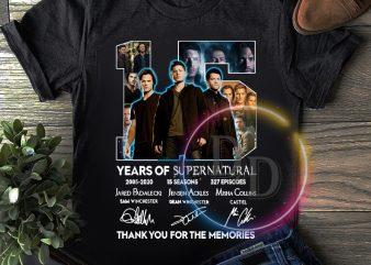 15 Years of supernatural 2005 – 2020 T shirt Aniversary