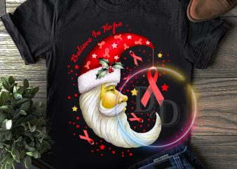 Believe In hope Santa Moon Breast Cancer Awareness Chrsitmas T shirt new year
