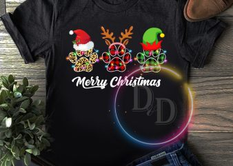 Dog Paws Merry christmas T shirt happy new year 2020