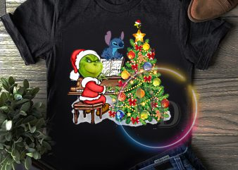 Grinch and Stitch Piano Christmas T shirt New year