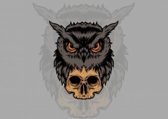 skull and owl t-shirt design