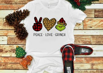 Peace Love Grinch PNG, Grinch Christmas PNG, Love Christmas PNG t shirt illustration