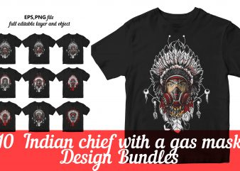 Indian chief Head with a GAS MASK t shirt design for sale