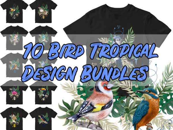 10 Bird tropical design Bundles
