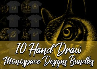 10 Hand Draw Animal 1 color design bundles