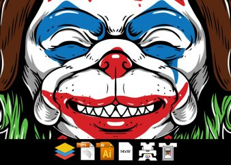 Pug Dog – Clown Face – Vector T-shirt Design