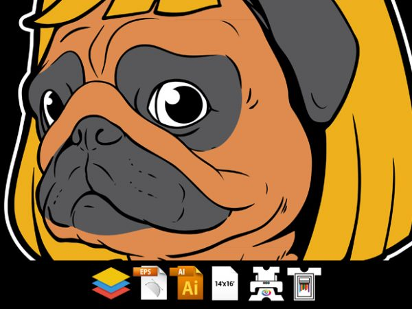 Pug Dog Man – Vector T-shirt Design