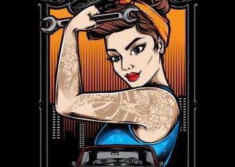 Rockabilly Girl Mechanic print ready shirt design