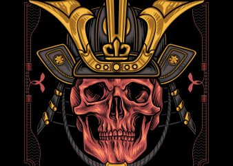 shogun skull t shirt template vector