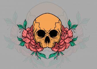 skull and flower t-shirt design