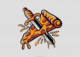 stabbed pizza t shirt template vector
