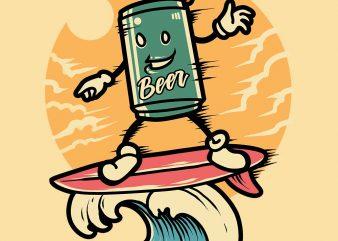surfing beer tshirt design