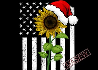 Sunflower Christmas, America flag, Christmas, SVG, EPS, DXF, PNG digital download print ready t shirt design