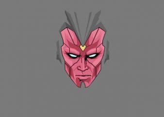Vision Avengers Face graphic t-shirt design