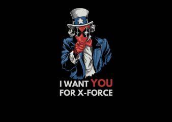 Deadpool X-Force t shirt design to buy