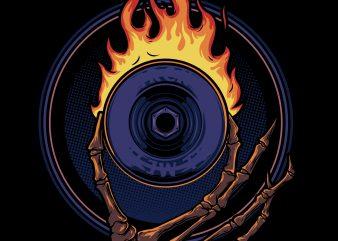 fire wheel t shirt graphic design