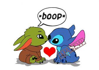 Baby Yoda and Stitch from The Mandalorian and Lilo & Stitch, Boop, Baby Yoda And Stitch EPS DXF SVG PNG Digital Download tshirt design for sale