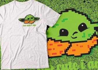 yoda pocket tshirt design | star war tshirt | too cute i am tshirt
