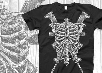 Skull soldier for jacket design