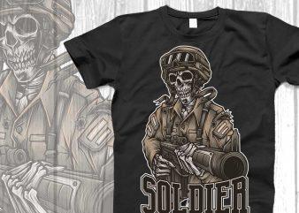 Skull soldier svg for tshirt design