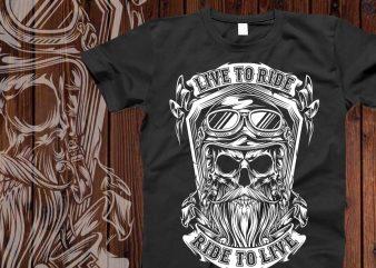 Live to ride t-shirt design
