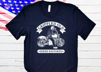 Grippled old biker bastard t-shirt design