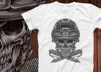 Skull soldier for hoodie design