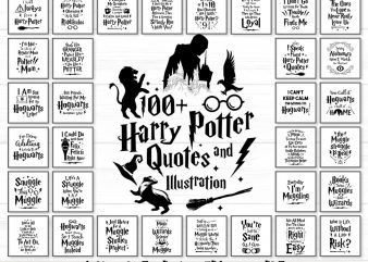 Harry Potter Inspired Quotes and illustration graphic t shirt