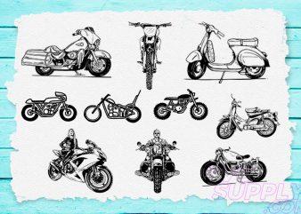 Motorcycle Lineart T-shirt Design Bundle