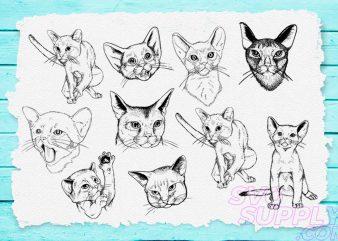 Cat Lineart SVG Bundle t shirt vector file