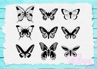 Butterfly Lineart SVG Bundle t shirt template
