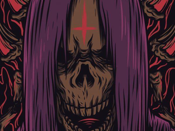 Skull Metal T-Shirt Design Template