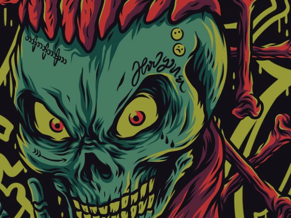 Skull Mumble T-Shirt Design Template