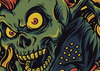 Skull Punk T-Shirt Design Template
