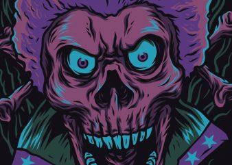 Skull Funky T-Shirt Design Template