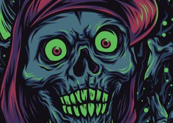 Skull Rapper T-Shirt Design Template