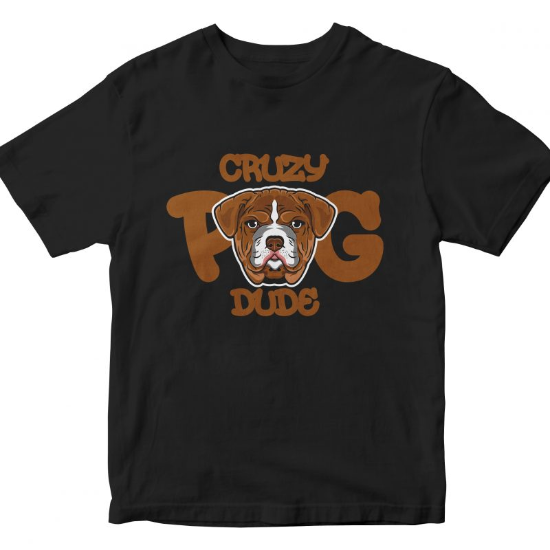 funny pug buy t shirt design for commercial use