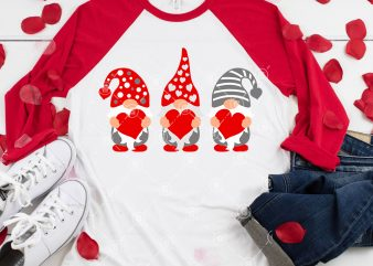 Three Gnomes Holding Hearts Svg, Valentine's Day Svg, Gnomes Svg t shirt designs for sale