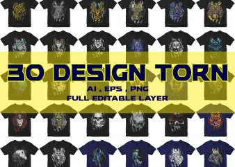 30 TORN TEES DESIGN BUNDLES ANIMAL ASTRONAUT ETC