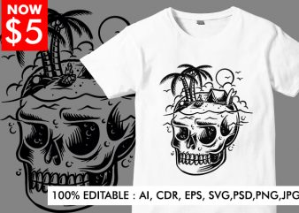 Skull Island Black and White t shirt template vector