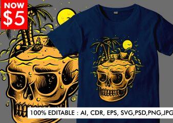 Skull Island Color t shirt template vector