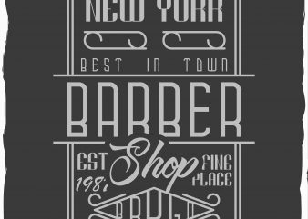 Barber shop label print ready vector t shirt design