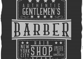 Gentlmen's barber shop graphic t-shirt design