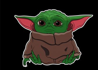Cute Baby yoda t shirt vector file