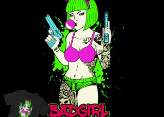 Sexy Badgirl Cartoon Style Tatto shirt design png buy t shirt design