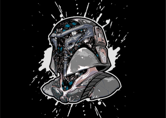 SCARY ROBOTIC BOBA FET THE MANDALORIAN t shirt template vector