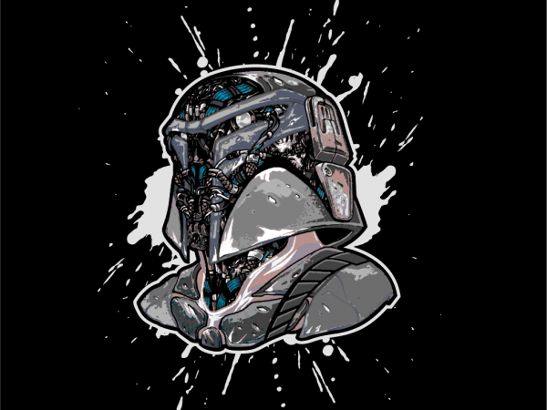 SCARY ROBOTIC BOBA FET THE MANDALORIAN buy t shirt design for commercial use